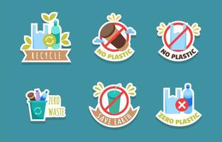 No Plastic Day Campaign Sticker Set vector