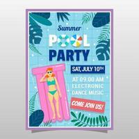 cartel de invitación de fiesta de piscina de verano vector