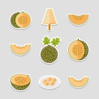Melon for Summer Fruit Sticker Pack vector