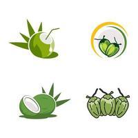 Ilustración de diseño de icono de vector de logotipo de coco
