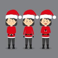 Character Wearing Santa Costume with Various Expression vector