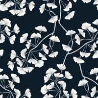 Classical hand drawn seamless pattern with ginkgo leaf branch vector