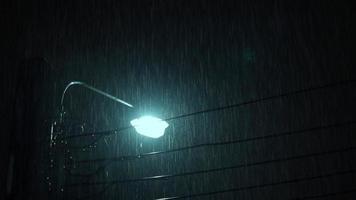 Raining Night and light. 4k footage Rain Drops Falling in night at BKK video