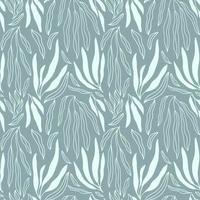 Minimalist seamless pattern with blue green palm branch and leaves doodles vector