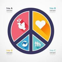 Bandera de rompecabezas de amor y paz. infografía de diseño de concepto vector