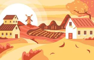Autumn Background of Country Landscape vector