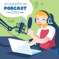 Podcast Day Illustration vector