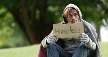 sans-abri, séance, et, tenue, signe sans-abri video
