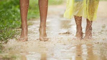Feet Splashing in A Water Puddle on A Rainy Day video