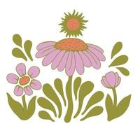 Vector retro pink color Scandinavia flower and the sun illustration