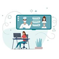 Medical Consultation by Internet with Doctor. vector