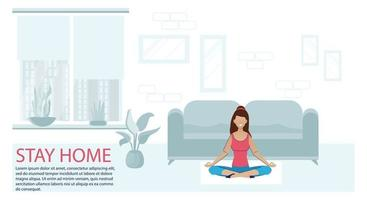 Sport Exercise at Home. Fitness Online Workout Yoga Exercise Woman vector