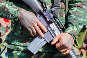 closeup male soldier hands holding machine gun photo