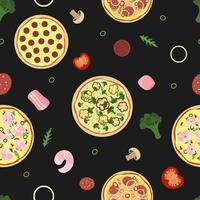 Pizza pattern. Seamless black background with food ingredients vector