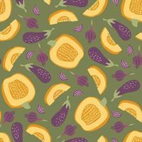 patrón sin costuras con calabaza, berenjena y cebolla vector