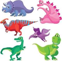 collection of dinosaurs 1 vector
