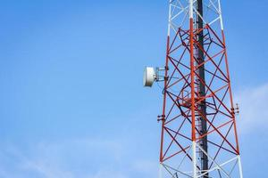 closeup telecommunication tower and cloudy blue sky photo