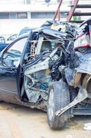 Remains of a wrecked car after a serious car crash photo
