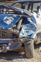 car damaged in a traffic accident. Car crash wreck photo