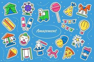 Amusement park - cartoon stickers. Entertainment vector symbols.