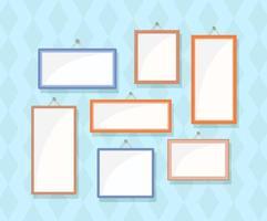 Empty photo frames. Vector illustration of rectangular frames.