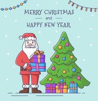 Merry Christmas and Happy New Year card with Santa Claus. vector