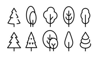 trees in lineart style set, forest, park and garden tree flat sign vector
