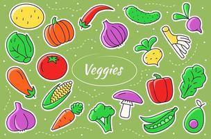Vegetables cartoon stickers. Veggies vector illustration.