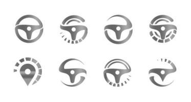 Steering Wheel. Vector logo template unusual dynamic