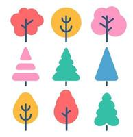 Color cartoon trees set, forest, park and garden tree vector