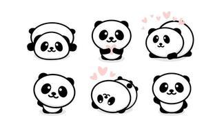 Friendly cute pandas set. Chinese bear icons set. Cartoon panda logo vector