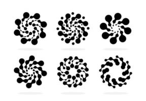 Abstract circle logotype set dotted round chem logo. Virus icon. vector