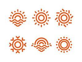 abstract round shape orange color logo set, sun vector logotype