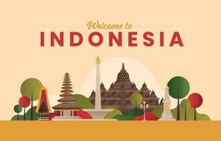 Indonesia Landmark Background Concept vector
