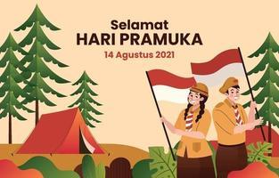 concepto de fondo del día de pramuka indonesia en estilo plano vector