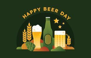 Happy Beer Day in Flat Gradient Style vector