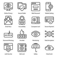 Security Line icons Set vector