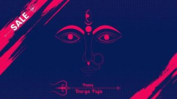 happy durga puja web template with colorful halftone background vector