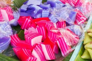 Kind of Thai sweetmeat, Multi Layer Colorful Sweet Cake photo