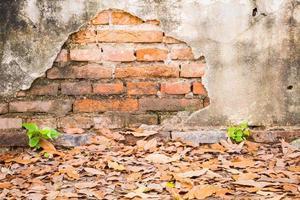 Fondo de pared vieja de ladrillo vintage de hormigón agrietado. foto