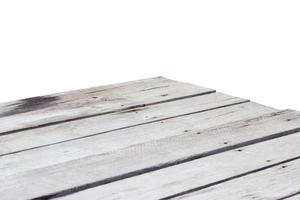 empty wooden table top corner isolated on white background photo