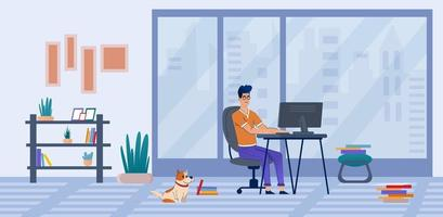 Freelancer work at home online training courses. vector