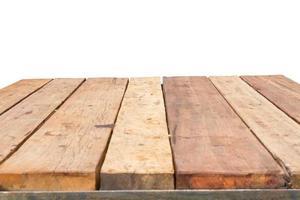 Foto horizontal de la vieja mesa de madera de tablones de época