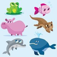 colección de animales lindos 6 vector
