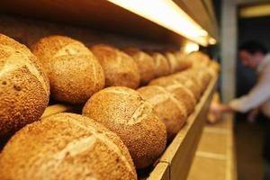 Sequential walnut bread on the shelves, Pastry, Patisserie and Bakery photo