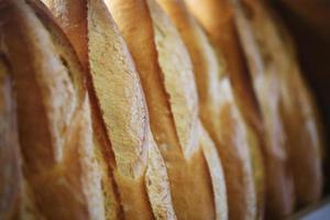 Ordered bread on the shelves, Pastry, Patisserie and Bakery photo