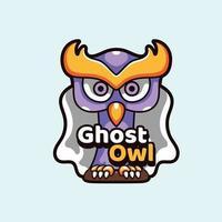 ilustración de mascotas búho fantasma vector