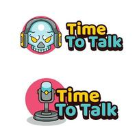 Time To Talk Podcast illustration logo for skull vector