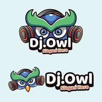 dj búho mascotas ilustración icono estilo moderno vector