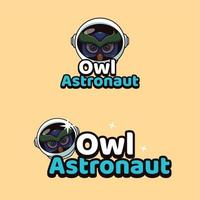 ilustración de mascotas de búho astronauta vector
